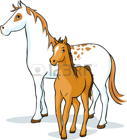 Horse and foal clipart.