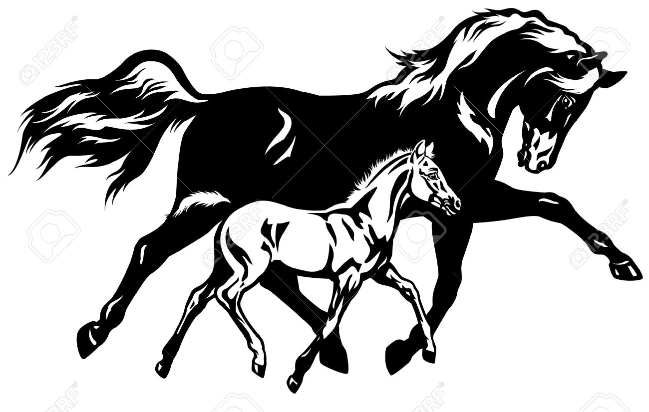 Mare and foal clipart with tree.