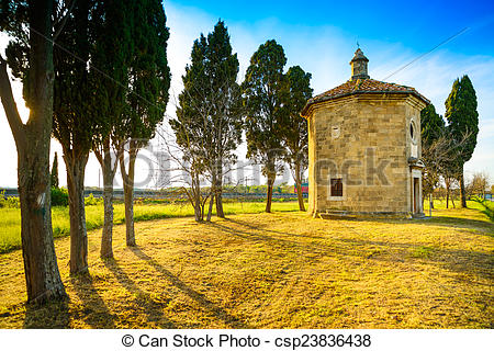 Stock Photos of San Guido Oratorio church and cypress trees.