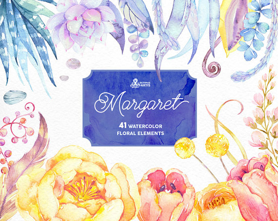 Margaret. 41 Watercolor Elements clipart peony succulents.
