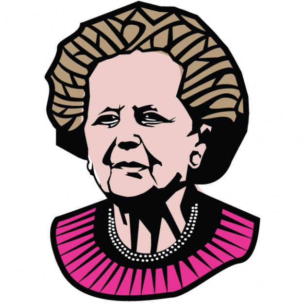 Margaret Thatcher portrait prime minister illustration Vector.