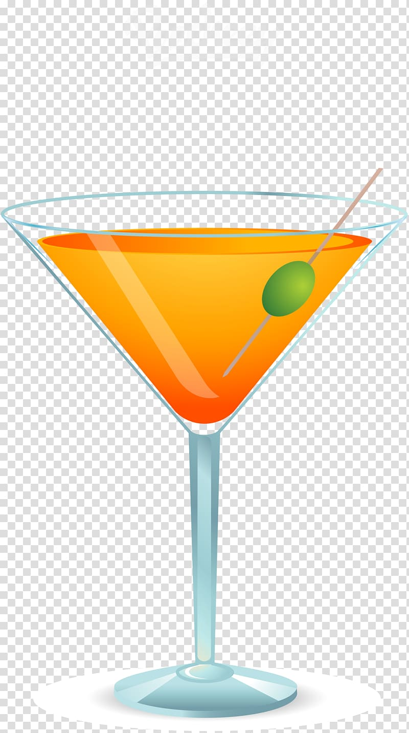 Martini glass with yellow liquid , Cocktail Martini Orange.