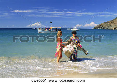 Stock Photography of Woman selling souviners on Margarita Island.