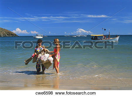 Pictures of Woman selling souviners on Margarita Island off.