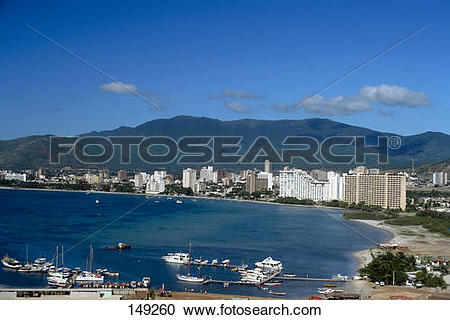 Stock Photography of City at waterfront, Margarita Island.