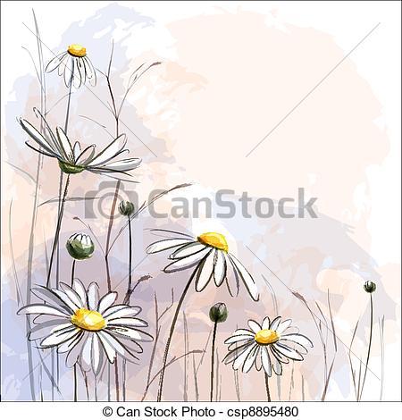 Clipart vettoriali di fondo, fiore, Romantico, margherite.