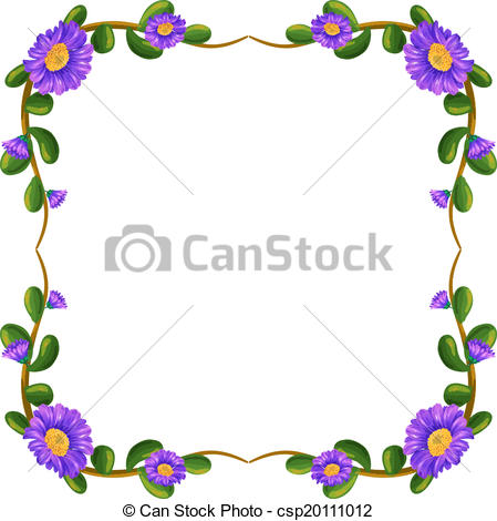 Vector Clip Art of A floral margin with violet flowers.