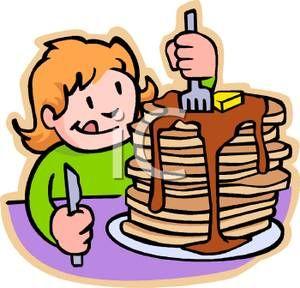 drawings of kids eating breakfast.