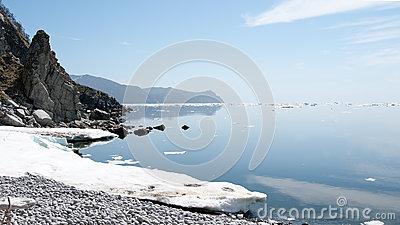 North Coast Sea Of Okhotsk Stock Photo.