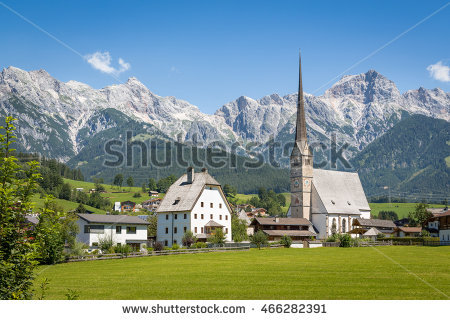 Mountain Village In Summer, Maria Alm, Salzburg, Austria Stock.