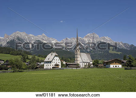 Stock Photography of Austria, Land Salzburg, View of maria alm.