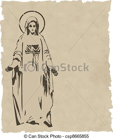 Clipart Vector of the vector Virgin Mary statue silhouette eps 8.