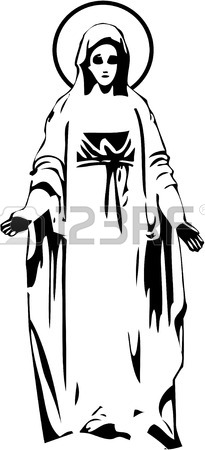 The Vector Virgin Mary Statue Silhouette 8 Royalty Free Cliparts.