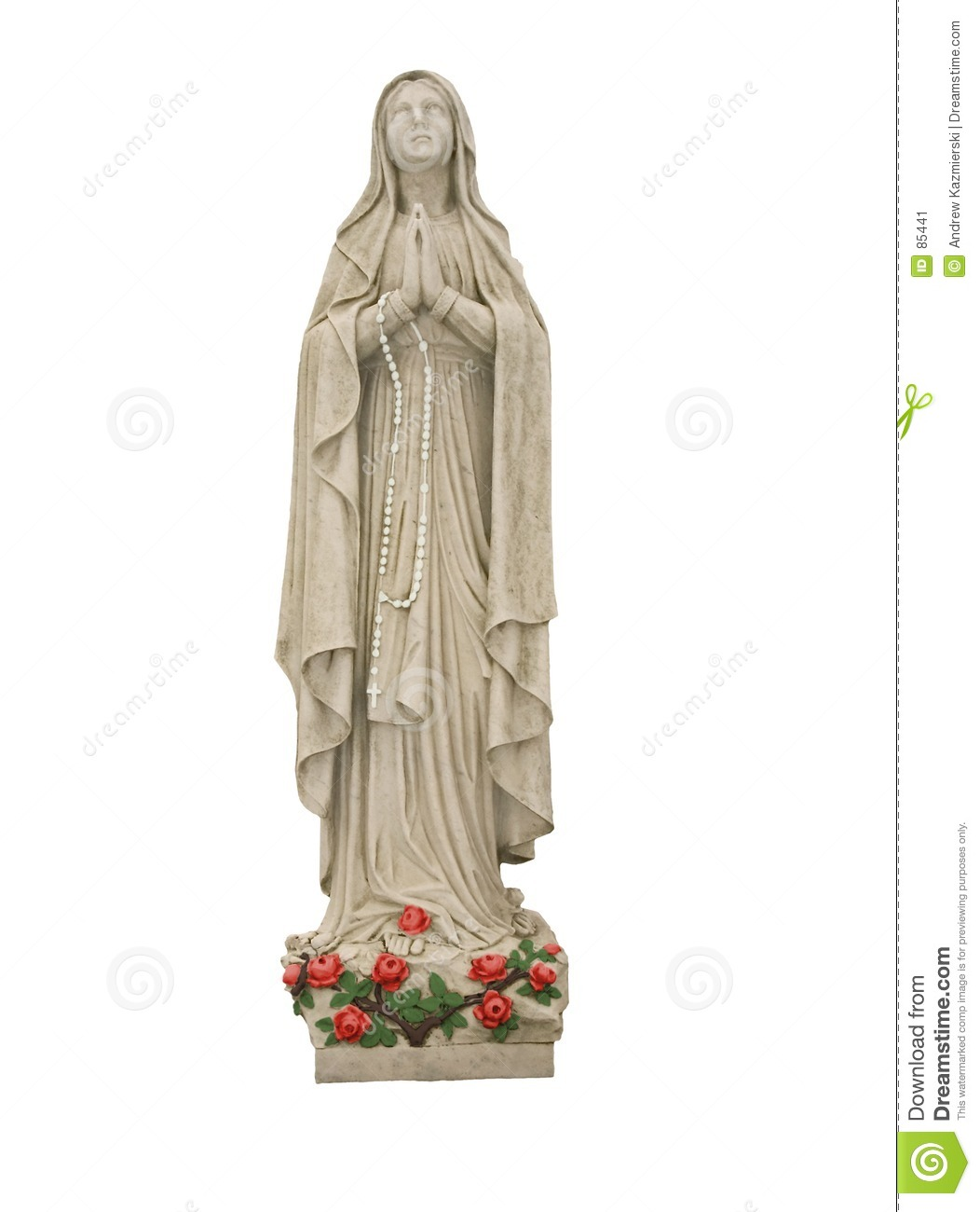 Mary With Roses And White Rosary Beads Stock Image.