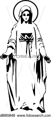 Clip Art of the vector Virgin Mary statue silhouette k8665848.