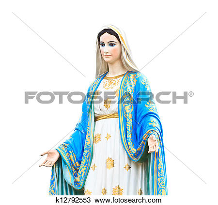 Stock Photo of Virgin Mary Statue in Roman Catholic Church.