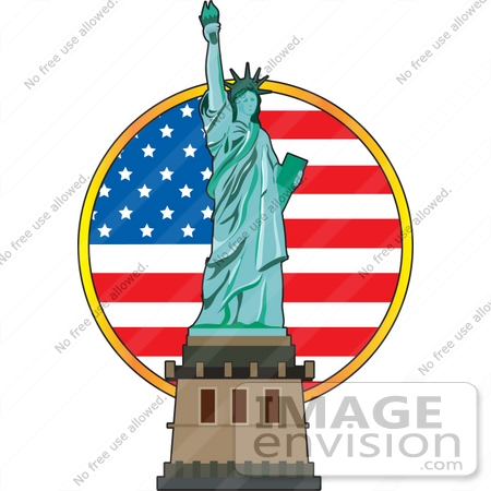 Clip Art Graphic of a Circular American Flag Behind The Statue Of.