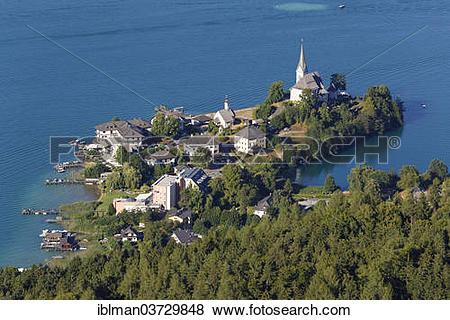 "Pictures of ""View from Pyramidenkogel Mountain, Lake Woerth, Maria."