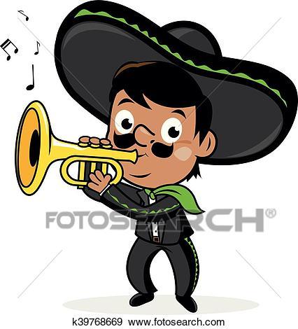 Mexican mariachi man Clip Art.