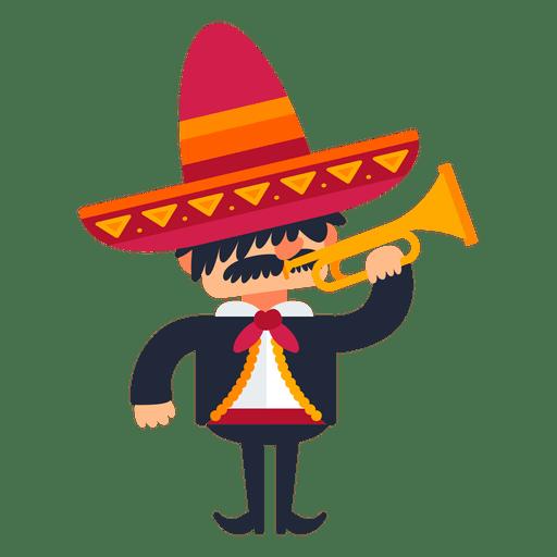 Mariachi playing trumpet cartoon.