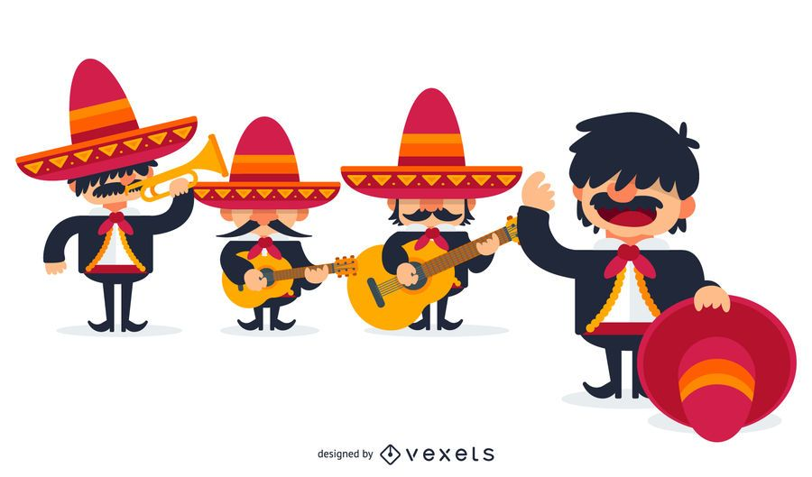 Mexican mariachis illustration.