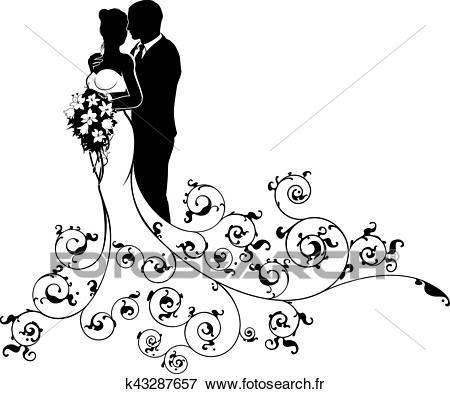 Mariée marié, couple, mariage, silhouette, résumé Clipart.