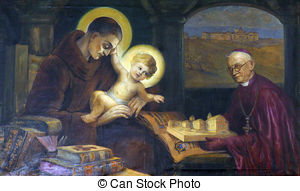Stock Images of Saint Anthony of Padua on the portal of Mariahilf.