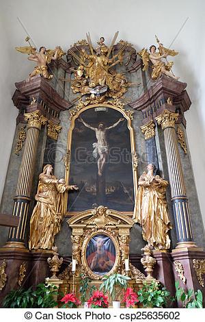 Stock Fotografie von heilig, altar, Kreuz, österreich, Kirche.