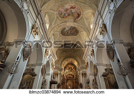"Stock Photo of ""Vaulted frescoed ceilings and chancel, Church of."