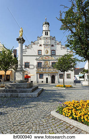 Stock Photography of Germany, Bavaria, Gaimersheim, City hall with.