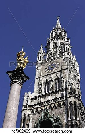 Stock Photograph of Germany, Munich, Marian column in front of.