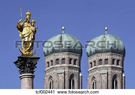 Stock Photography of Germany, Bavaria, Munich, Marian column in.