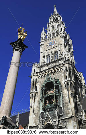 """Stock Images of """"Town Hall tower with Glockenspiel, New Town Hall."""