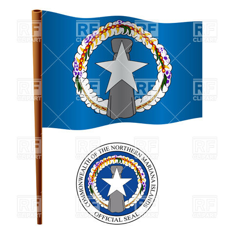 Northern Mariana Islands flag and coat of arms Vector Image #16741.