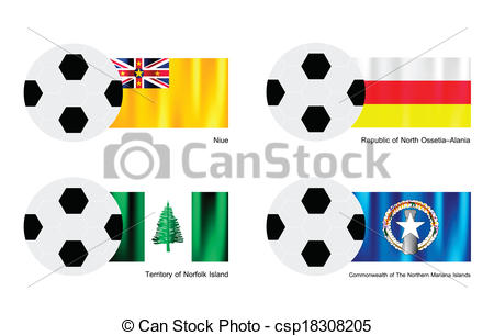 Vector Clipart of Football with Niue, Ossetia Alania, Norfolk and.