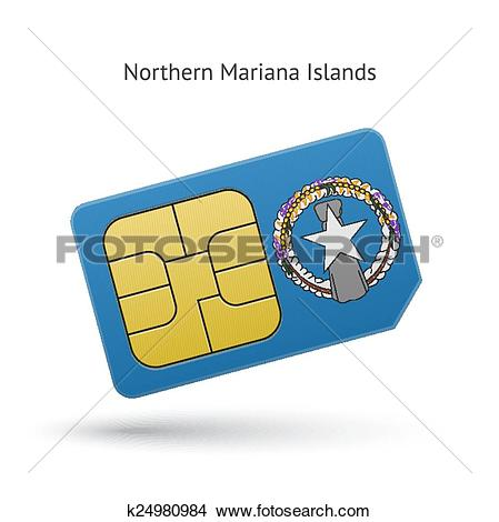 Clipart of Northern Mariana Islands mobile phone sim card with.