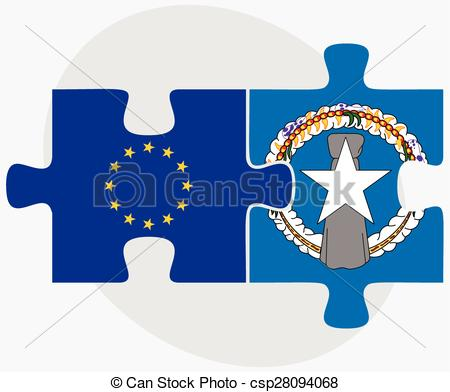 Clip Art Vector of European Union and Northern Mariana Islands.
