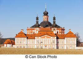 Stock Photo of cistercian priory, Mariansky Tynec, Czech Republic.