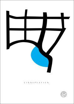 Posters med motiv från Linneplatsen i Göteborg.