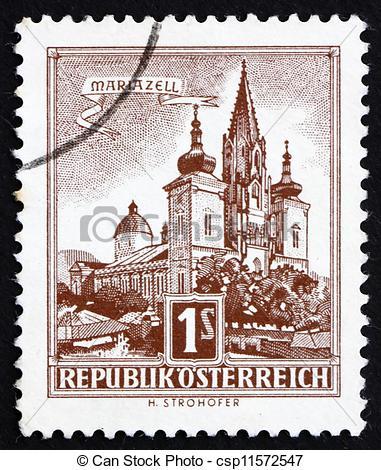Stock Photo of Postage stamp Austria 1957 Mariazell.