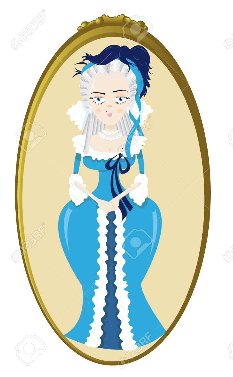 A Vector Cartoon Representing A Funny Marie Antoinette Royalty.
