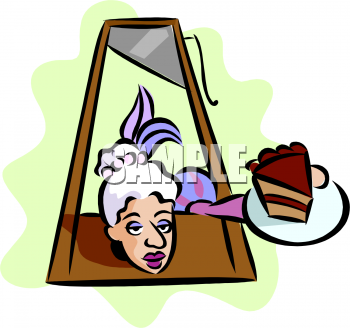 Clipart Picture of Marie Antoinette with a Piece of Cake.