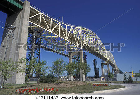 Stock Photo of Sault Ste. Marie, bridge, MI, Michigan, Upper.