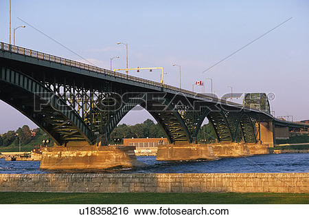 Stock Images of The International Bridge at Sault Ste. Marie, Fort.