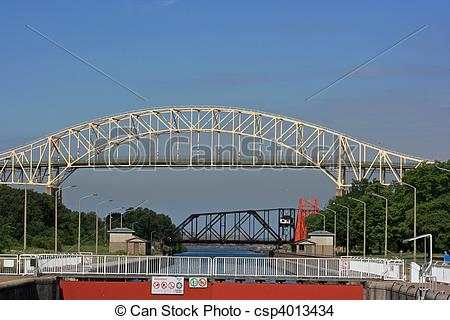 Stock Photo of International Bridge and Sault Ste. Marie Canal.