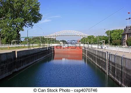 Stock Image of Sault Ste Marie Canal.