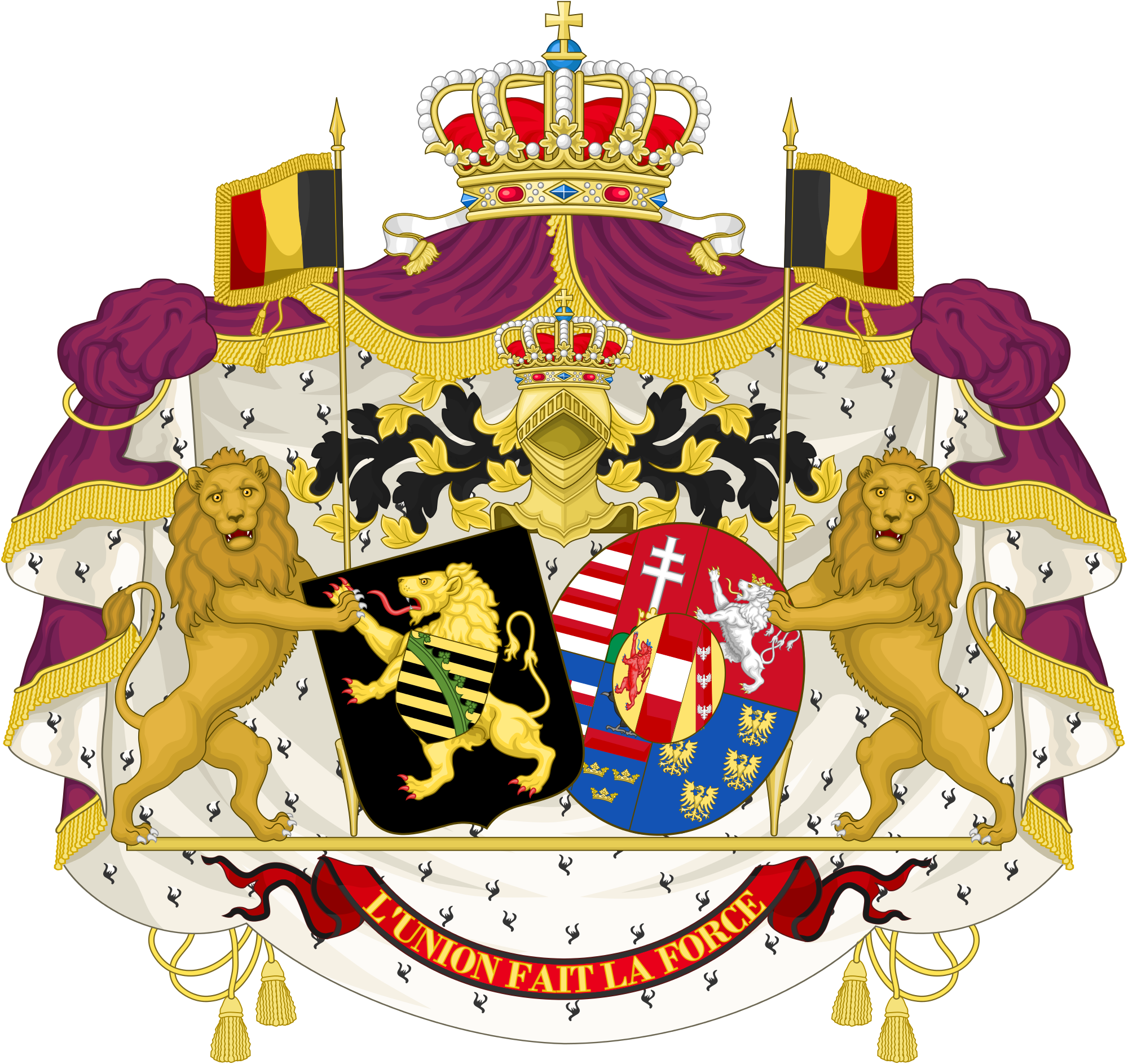 File:Alliance Coat of Arms of King Leopold II and Queen Marie.