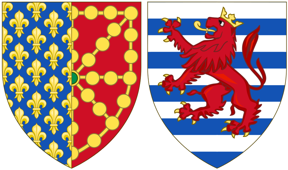File:Coat of Arms of Marie of Luxembourg as Queen Consort of.
