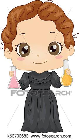 Kid Girl Costume Little Marie Curie Illustration Clipart.