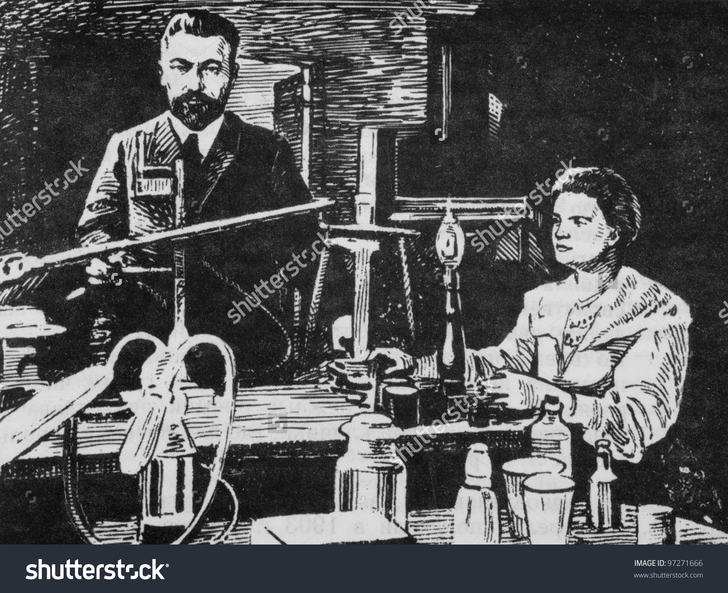 Known Chemists Pierre Curie Marie Sklodowskacurie Stock Photo.